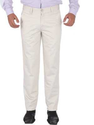 SAVINO Regular Fit Men's Cream Trousers