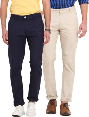 Ennoble Slim Fit Men's Blue, Beige Trousers