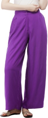 Pistaa Regular Fit Women's Purple Trousers