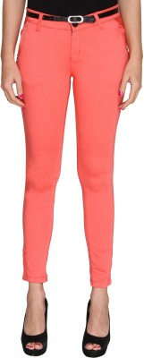 Bedazzle Slim Fit Women's Pink Trousers