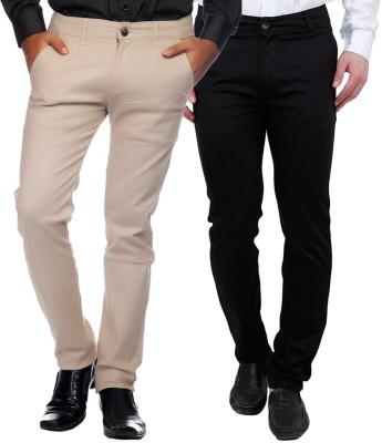 Rock Hudson Regular Fit Men's Black, Cream Trousers