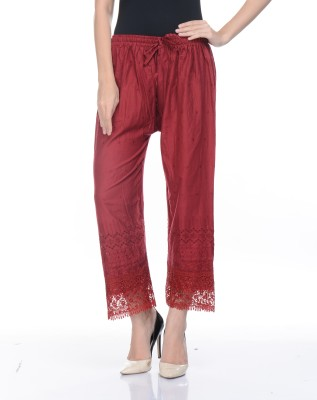 Awesome Regular Fit Women's Maroon Trousers