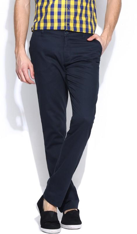 John Players Slim Fit Men's Blue Trousers