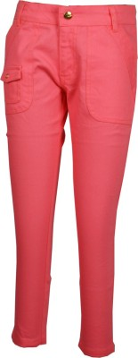 Posh Kids Slim Fit Girl's Pink Trousers