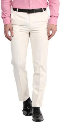 RICH PERK Slim Fit Men's Linen Beige Trousers