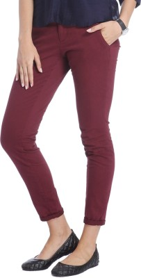 Only Skinny Fit Women's Maroon Trousers
