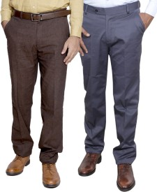 IndiStar Regular Fit Men's Brown, Grey Trousers
