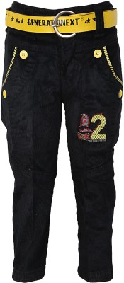 Generationext Regular Fit Baby Boy's Black, Yellow Trousers