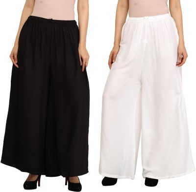 Guru Nanak Fashions Regular Fit Women's Black, White Trousers
