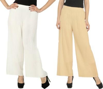 Civilized Showdown Regular Fit Women's White, Beige Trousers