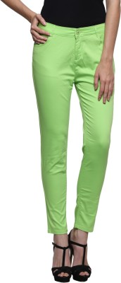 Prakum Skinny Fit Women's Green Trousers