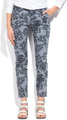Flying Machine Slim Fit Women's White, Blue Trousers