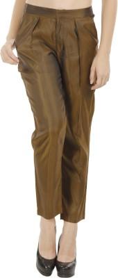 Fuziv Slim Fit Women's Brown Trousers