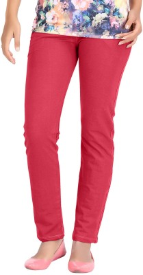 Hbhwear Slim Fit Women's Denim Red Trousers