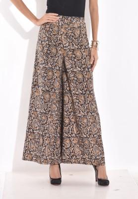 Desi Weaves Regular Fit Women's Black, Blue Trousers