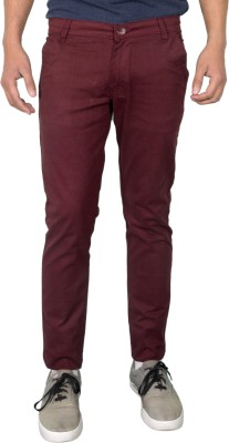 Made In The Shade Slim Fit Men's Maroon Trousers