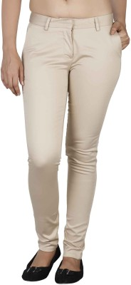 Soie Slim Fit Women's Beige Trousers at flipkart