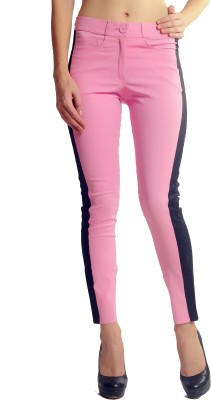 Glam & Luxe Slim Fit Women's Pink, Black Trousers
