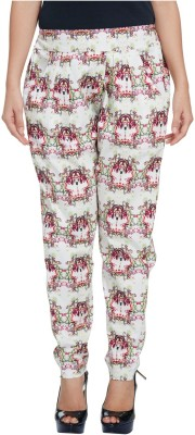Enah Regular Fit Women's White, Pink Trousers