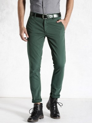 Roadster Regular Fit Men's Green Trousers