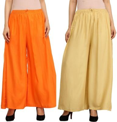 Guru Nanak Fashions Regular Fit Women's Orange, Beige Trousers
