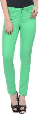 Mayra Skinny Fit Women's Green Trousers