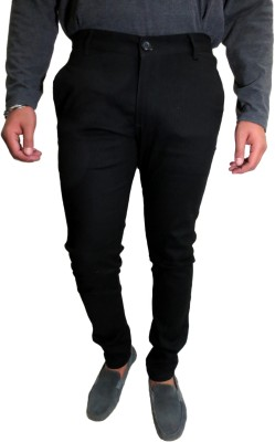 Roadcrack Slim Fit Men,s Black Trousers