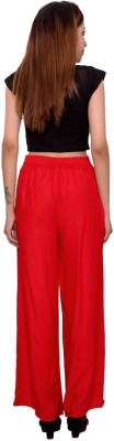 MSONS Regular Fit Women's Red Trousers