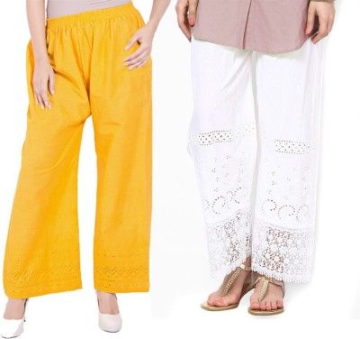 Komal Trading Co Regular Fit Women's Yellow, White Trousers