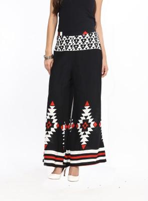 Avishi Regular Fit Women's Black, White, Red Trousers