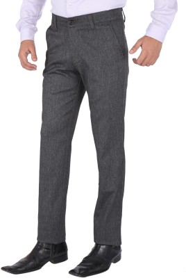 SAVINO Regular Fit Men's Grey Trousers