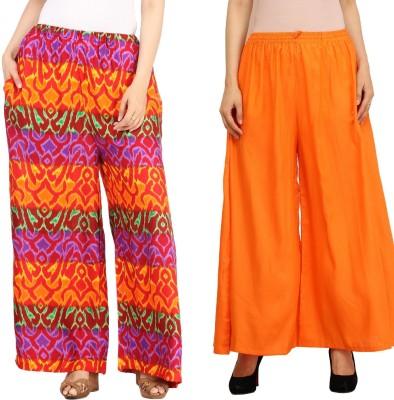 Guru Nanak Fashions Regular Fit Women's Multicolor, Orange Trousers