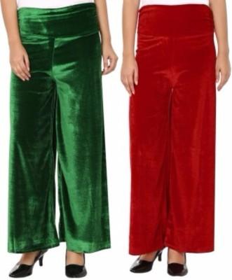 Viba London Regular Fit Women's Green, Maroon Trousers