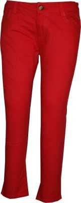 Posh Kids Slim Fit Girl's Red Trousers