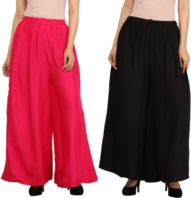 Guru Nanak Fashions Regular Fit Women's Pink, Black Trousers