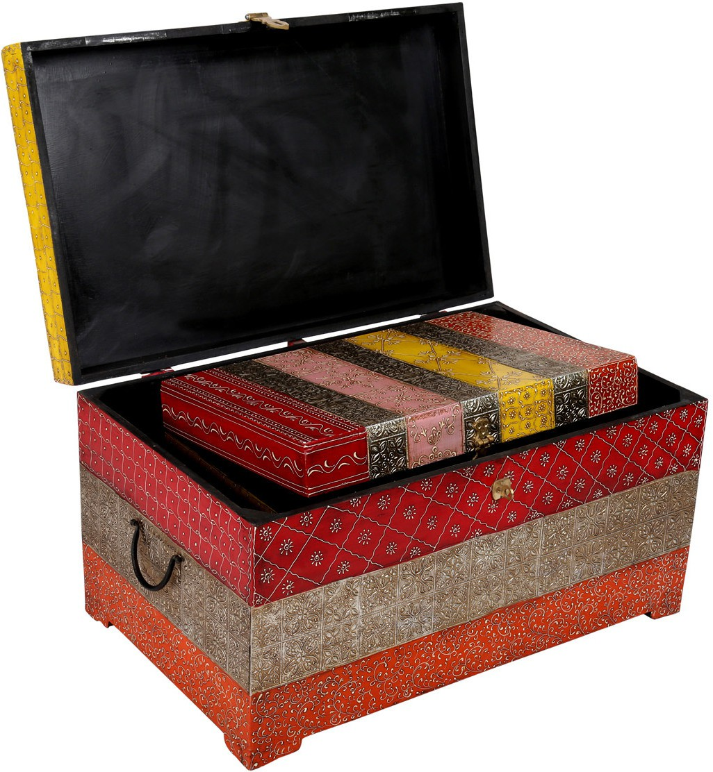Rajrang Floral traditional trunk box Solid Wood Trunk class=