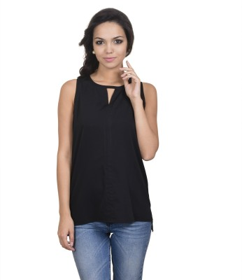 Antilia Femme Casual Sleeveless Solid Women's Black Top