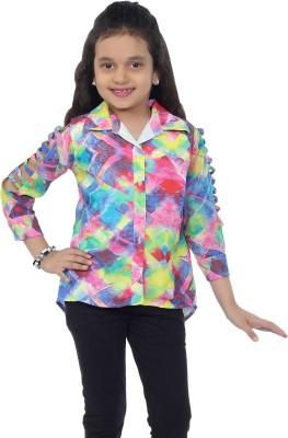Catmini Girl's Printed Casual Pink Shirt