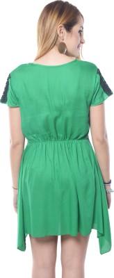 Shree Krishna Enterprise Party Sleeveless Solid Girl's Green Top