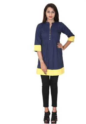 Rich Creations Casual, Party 3/4 Sleeve Solid Women's Blue Top