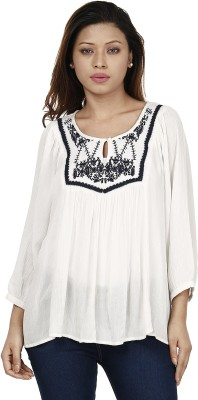 Miway Casual Full Sleeve Solid Women's White, Black Top