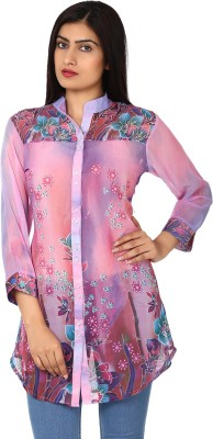 Purple Feather Printed Women,s Tunic