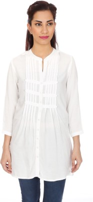 Clodentity Women,s Solid Formal White Shirt