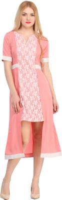 Raas Prêt Women's High Low, Blouson Pink, Silver Dress
