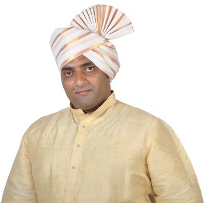 eKolhapuri Golden Broad Lining Polyester Kolhapuri Pheta (Turban) Striped Pagri