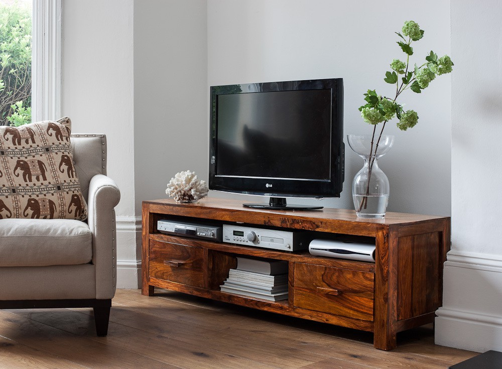 View Ethnic Handicrafts Solid Wood TV Stand(Finish Color - Teak) Furniture (Ethnic Handicrafts)