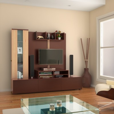 HomeTown Hugo Engineered Wood Entertainment Unit(Finish Color - Walnut & Teak)