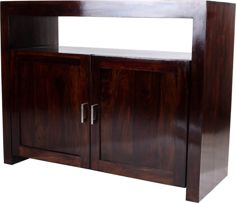 Wood Dekor Solid Wood Entertainment Unit(Finish Color - Dark Brown)