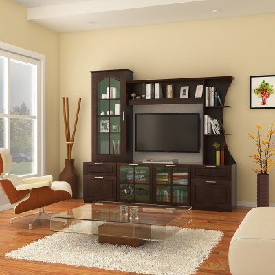 HomeTown Mandrin Wallunit Engineered Wood Entertainment Unit(Finish Color - Wenge)