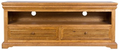 HomeTown Solid Wood TV Stand(Finish Color - Brown Oak)